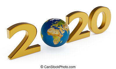 Yearr 2020 and globe africa, europe