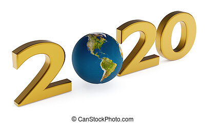 Yearr 2020 and globe america