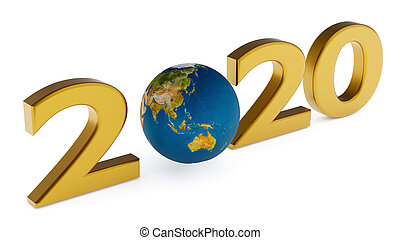 Yearr 2020 and globe australia, asia