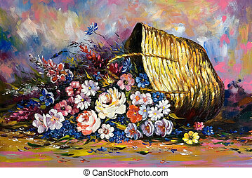 Years still-life with a basket and flowers