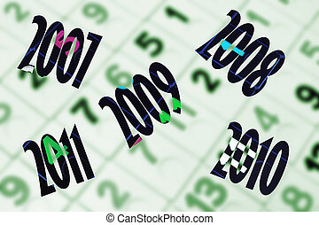 Years with Number Background in Green Tone