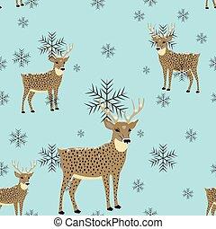 year's.winter., modèle, pattern., seamless, deer., .seamless, nouveau, noël