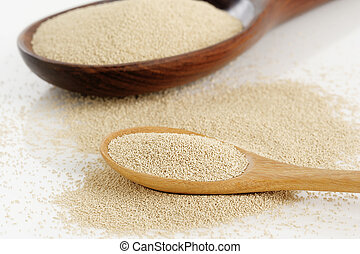 Yeast in spoon on white background