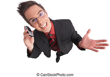 yeeess - businessman talks on the phone with clipping path...