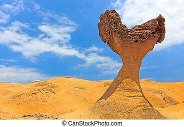 yehliu, corazón, taiwán, formaciones, piedra, roca
