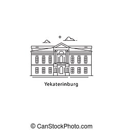 Yekaterinburg logo isolated on white background. Russian city line vector illustration. Traveling to Russia cities concept.