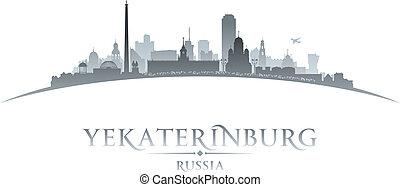 Yekaterinburg Russia city skyline silhouette white background