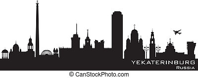 Yekaterinburg Russia city skyline Detailed silhouette