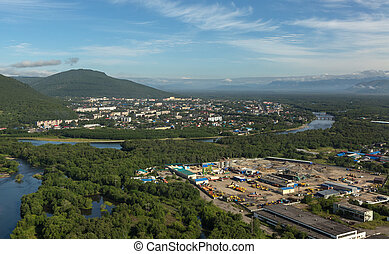 Yelizovo town on Kamchatka Peninsula. View from the ...