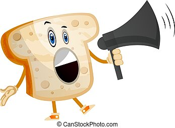 Yelling bread illustration vector on white background