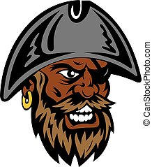Yelling cartoon bearded pirate in captain hat