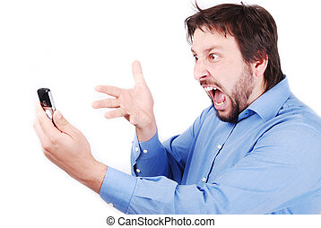 Yelling on phone - Young attractive man is yelling on his...