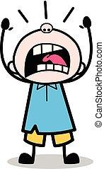 Yelling - School Boy Cartoon Character Vector Illustration
