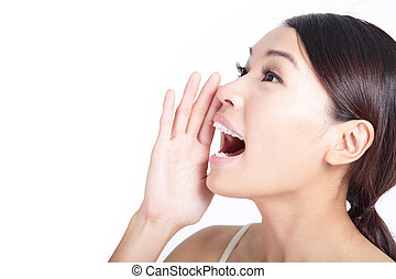 Yelling woman mouth closeup isolated on white background, model is a asian beauty