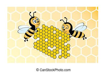 yello, abeilles, deux, tenue, rayon miel