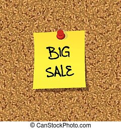 Yellor stick note paper with words BIG SALE pinned on cork board with red pin