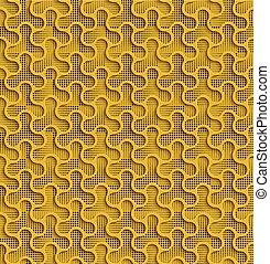 Yellow 3d Seamless Web Geometric  Pattern.