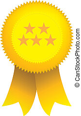 yellow 5 star ribbon seal - rosette or award seal for 5 star...
