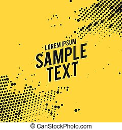 yellow abstract background with black halftone effect