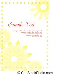 Yellow abstract background with flowers, vector illustration