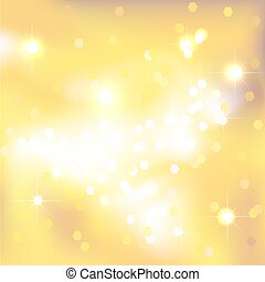 Yellow abstract background with light spots and stars.