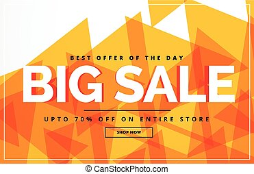 yellow abstract big sale banner or voucher design template