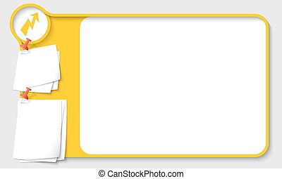 Yellow abstract frame for your text with flash and papers ...