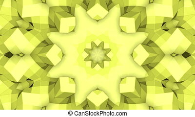 Yellow Abstract Kaleidoscope. 3d rendering - Yellow Abstract...