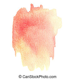 Yellow Abstract watercolour stain. Wet watercolour art hand paint on white background, textured backdrop, watercolor drop, wave
