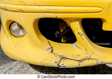 Yellow accident car