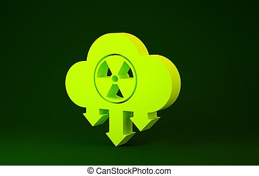 Yellow Acid rain and radioactive cloud icon isolated on green background. Effects of toxic air pollution on the environment. Minimalism concept. 3d illustration 3D render