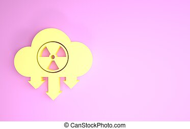Yellow Acid rain and radioactive cloud icon isolated on pink background. Effects of toxic air pollution on the environment. Minimalism concept. 3d illustration 3D render