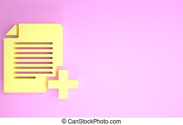 Yellow Add new file icon isolated on pink background. Copy document icon. Minimalism concept. 3d illustration 3D render