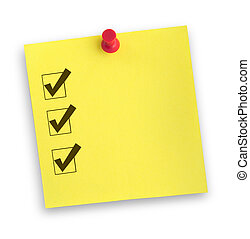 yellow adhesive note with completed checklist against white, gentle shadow underneath