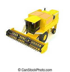 yellow agricultural combine-harves