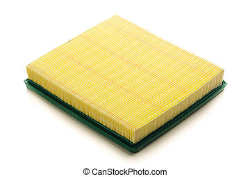 yellow air filter for car engine, isolated on white