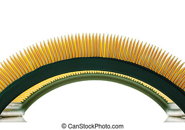 yellow air filter for car engine, white background
