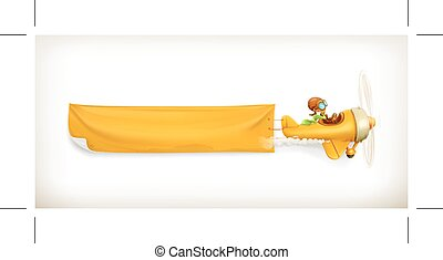 Yellow aircraft banner, isolated on white background