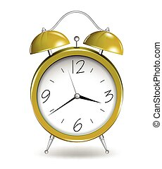 Yellow alarm clock. Vector