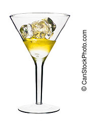 Yellow Alcoholic Cocktail in martini glass with ice. Isolated on White Background
