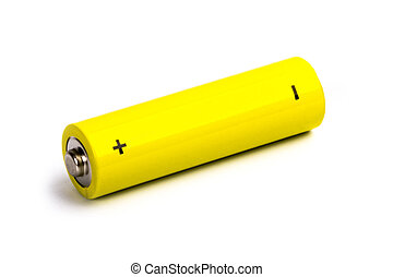yellow alkaline battery isolated on white background