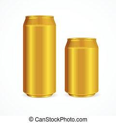 Yellow Aluminium Cans. Vector