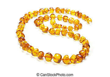 Yellow amber necklace isolated on t