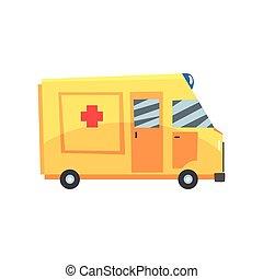 Yellow ambulance car, emergency medical service vehicle cartoon vector Illustration