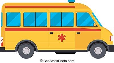 Yellow ambulance car vector illustration.