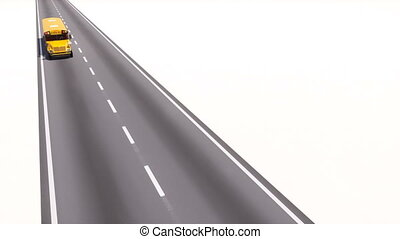 Yellow american school bus driving on highway road - High...