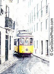 yellow ancient tram on streets of Lisbon, Portugal. Imitation of water color drawing