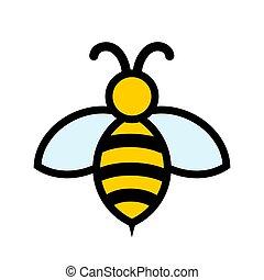 Yellow and black bee icon logo design, stock vector illustration