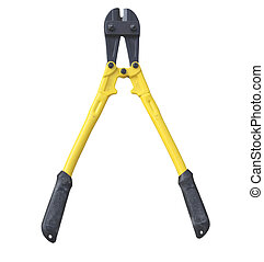 Yellow and black bolt cutter isolared