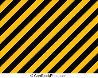 Yellow and black diagonal hazard stripes painted on old brick wall - Vector